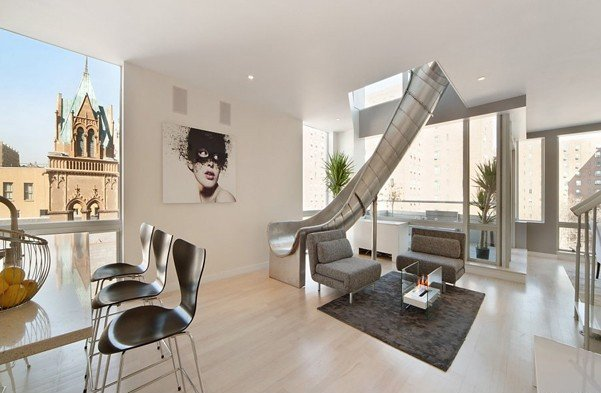 East Village penthouse in New York with a built-in slide